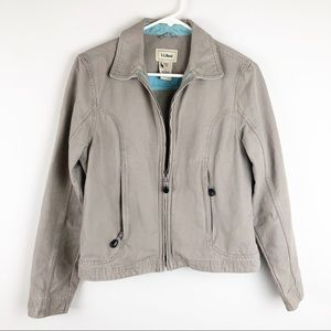 LL Bean Gray Khaki zip up jacket